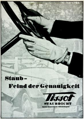 Anuncio publicitario de Tissot de la primera mitad del siglo XX donde vemos ya el reloj de pulsera para hombre.