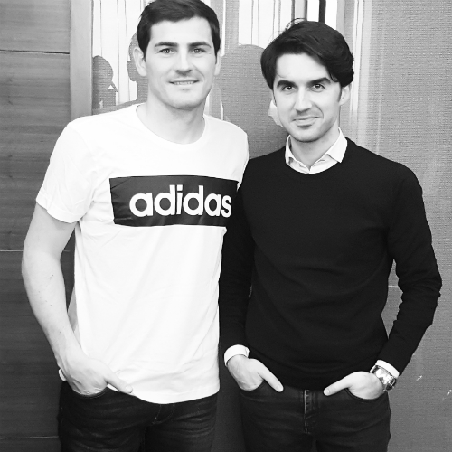 Iker Casillas y yo después de la entrevista.